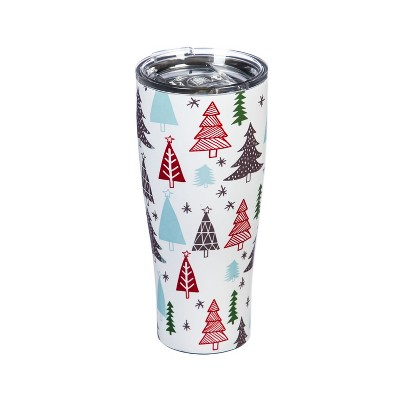 Cypress Home Double Wall Stainless Steel Cup, 17 Oz., Festive Woodland