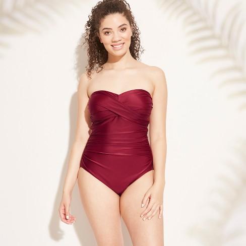 feb0157be34 Women's Tall/Long Torso Bandeau One Piece Swimsuit - Kona Sol™ : Target