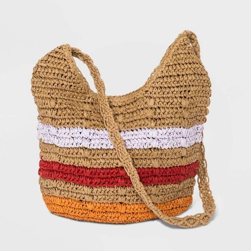 Striped Straw Shoulder Handbag - Universal Thread™ Natural - image 1 of 3