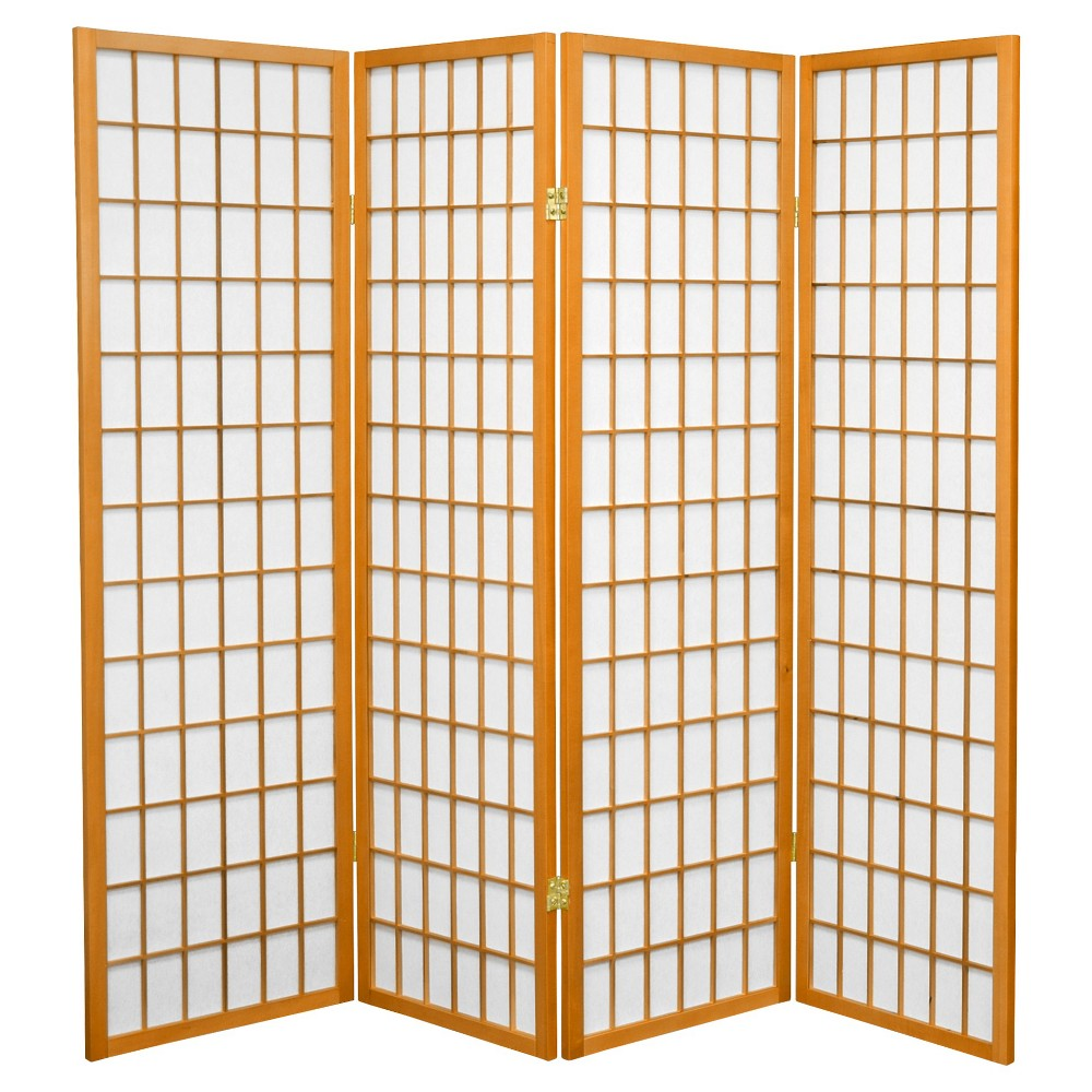 5 ft. Tall Window Pane Shoji Screen - Honey (4 Panels), Pumpkin