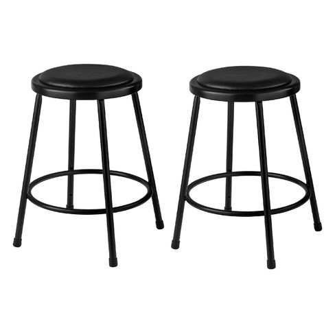 Superb 2Pk 24 Heavy Duty Vinyl Padded Steel Stool Black Hampton Collection Pabps2019 Chair Design Images Pabps2019Com