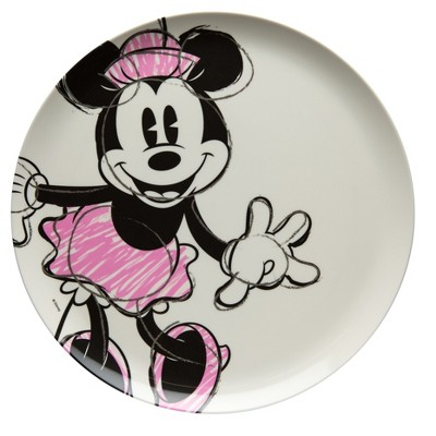 Disney Minnie Mouse Melamine Dinner Plate 10  - White/Pink