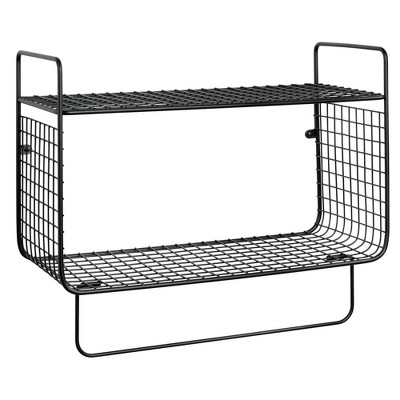 mDesign 2 Tier Storage Organizer Bath Shelf with Towel Bar, Wall Mount