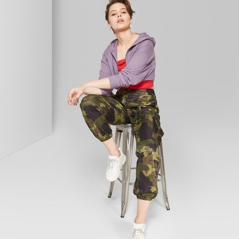 Women's Camo Print Cargo Pants - Wild Fable™ Green - image 1 of 6