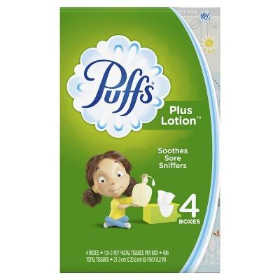 Puffs Plus Lotion Facial Tissue - 4pk/124ct