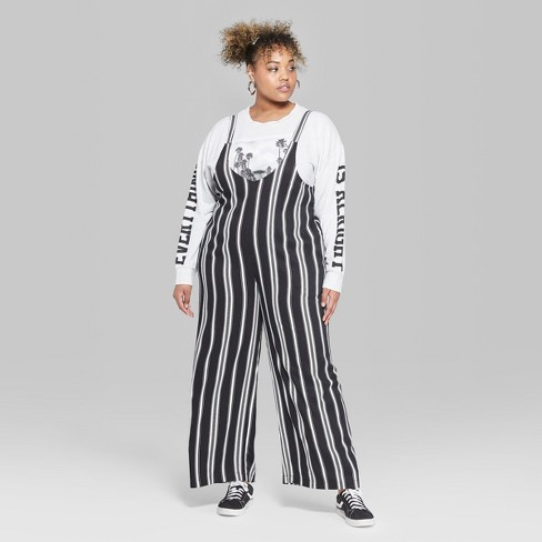 4ef5caf408f9 Women s Striped Plus Size Strappy Scoop Neck Jumpsuit - Wild Fable™  Black White 1X   Target