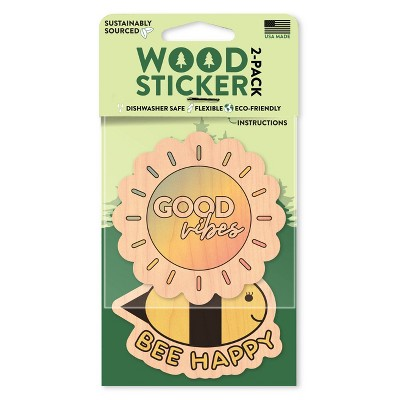 Dust City Wood Stickers Good Vibes and Be Happy Stickers 2pk