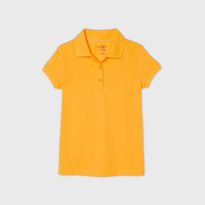 Girls' Short Sleeve Stretch Pique Uniform Polo Shirt - Cat & Jack™ Gold