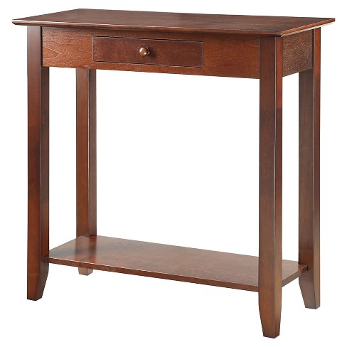 American Heritage Hall Table With Drawer and Shelf Espresso - Convenience Concepts - image 1 of 3