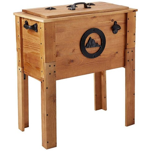 45 Qt Wooden Cooler Rustic Wood Brown Backyard Expressions
