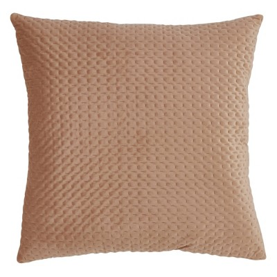 Poly Filled Pinsonic Velvet Pillow Beige - Saro Lifestyle
