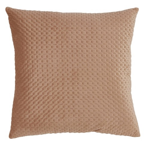 Poly Filled Pinsonic Velvet Pillow Beige - Saro Lifestyle - image 1 of 3