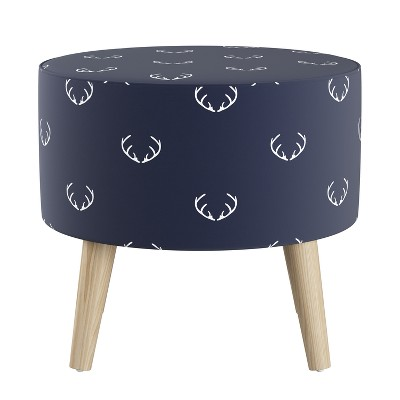 Round Ottoman with Splayed Legs Patterned - Skyline Furniture