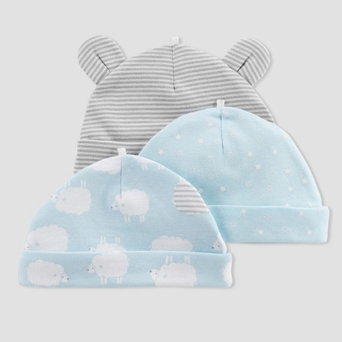 Baby Boys' 3pk Caps - Just One You® made by carter's Blue Sheep 0-3M - image 1 of 1