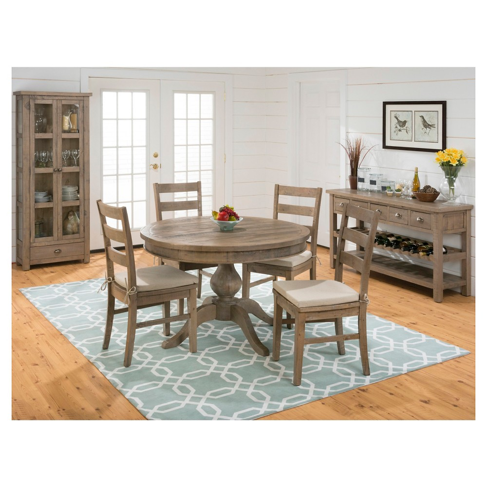 5 Piece Slater Mill Round to Oval Dining Set with Ladderback Chairs Wood/Reclaimed Pine - Jofran Inc., Brown