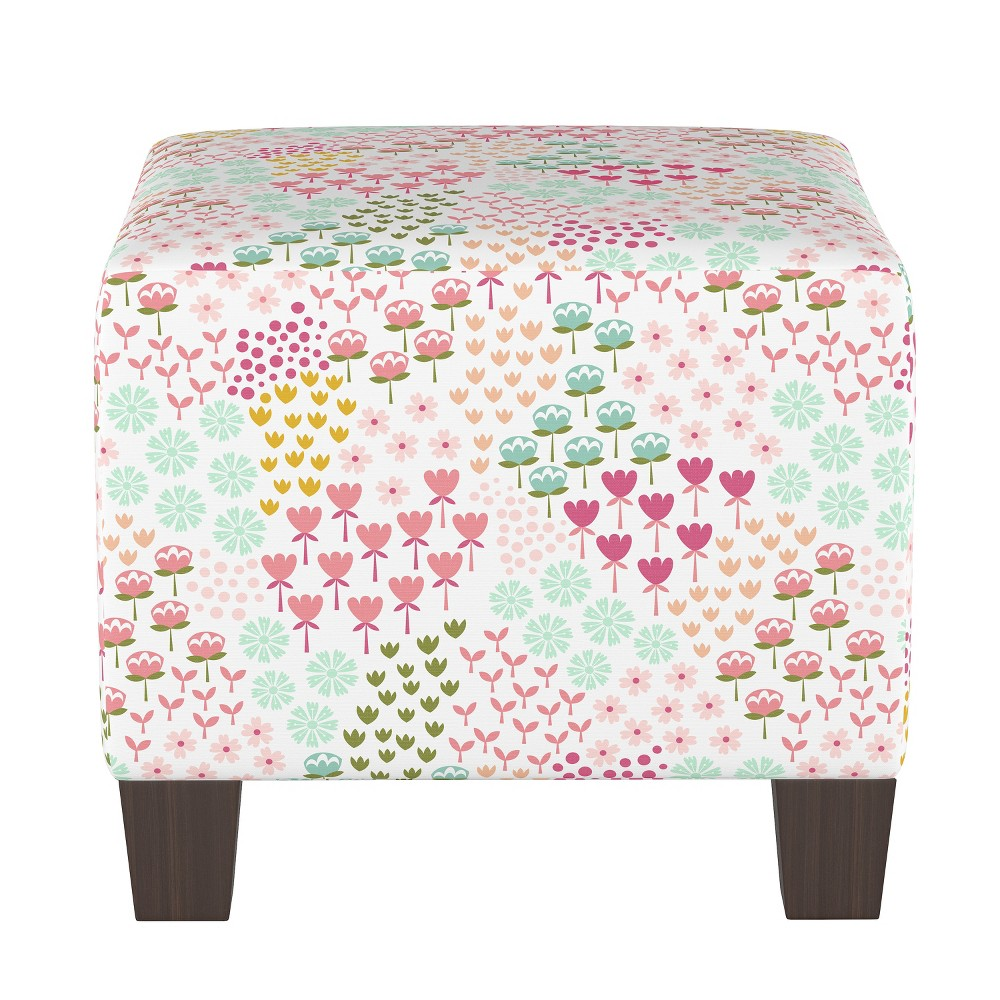 Image of Kids Square Ottoman Flower Patch Pink - Pillowfort