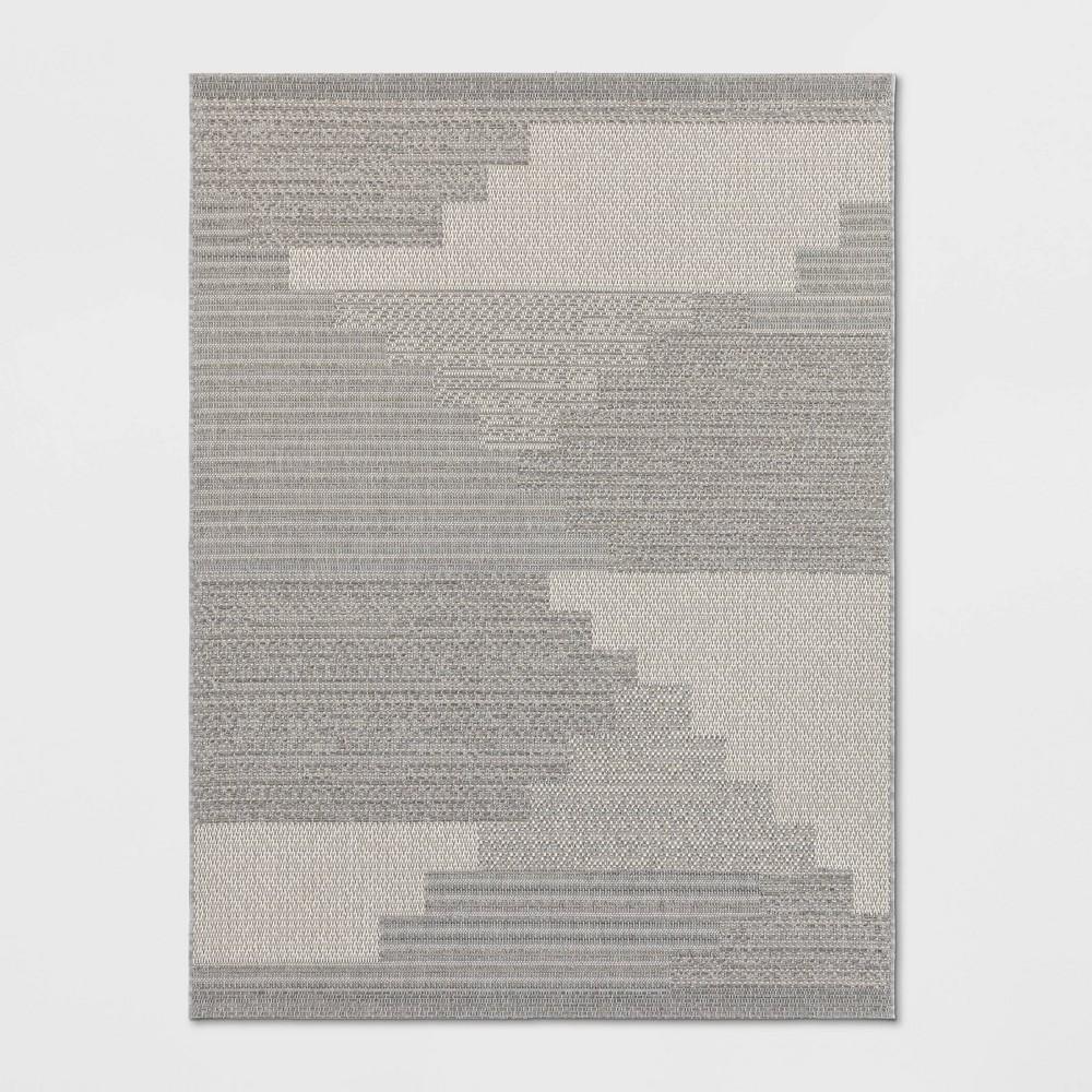 9'X12' Indoor/Outdoor Zig Zag Woven Area Rug Gray - Project 62