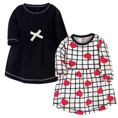 Touched by Nature Baby and Toddler Girl Organic Cotton Long-Sleeve Dresses 2pk, Black Red Heart