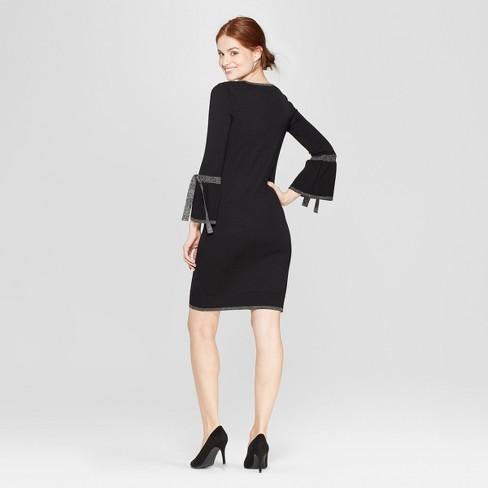 97786f1cfc2 Women s Shine Tie Sleeve Sweater Dress - Spenser Jeremy - Black Silver    Target