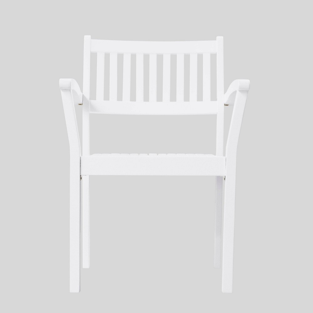 Image of Bradley 2pk Outdoor Patio Wood Stacking Armchair - White - Vifah