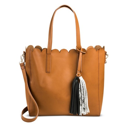 Women's Large Tote with Double Colorblocked Tassel - Tan - image 1 of 2