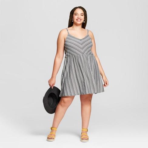 Women\'s Plus Size Striped Knit Dress - Universal Thread™ Black/White ...