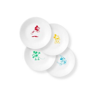 "Corelle Disney Mickey Mouse 6.7"" 4pk Glass Appetizer Plates"