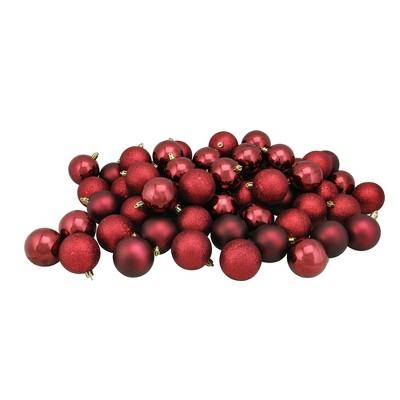 "Northlight 60ct Shatterproof 4-Finish Christmas Ball Ornament Set 2.5"" - Burgundy"