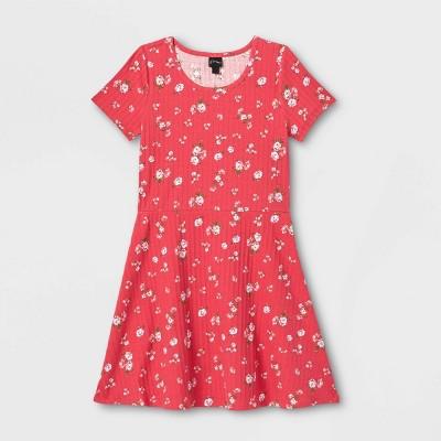 Girls' Skater Rib-Knit Short Sleeve Dress - art class™
