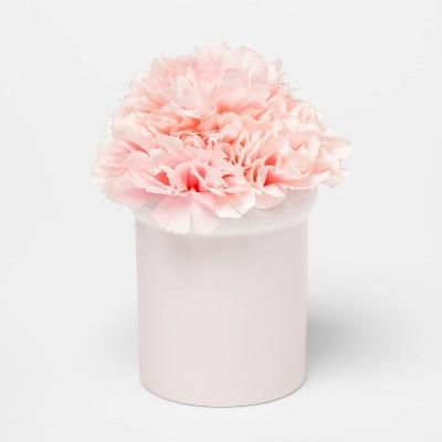 "6.5"" x 4"" Artificial Carnation Arrangement in Ceramic Pot Pink/White - Threshold™"