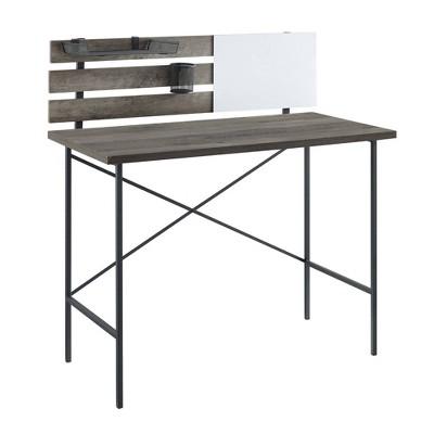 Modern Slat Back Adjustable Storage Writing Desk Gray Wash - Saracina Home