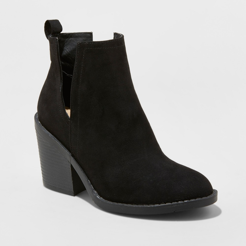 Women's Basil Microsuede Cut-Out Fashion Bootie - Universal Thread Black 10