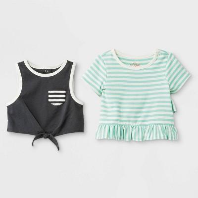 Baby Girls' 2pc Crop Tank Top and Ruffle T-Shirt Set - Cat & Jack™ Green/Black 0-3M