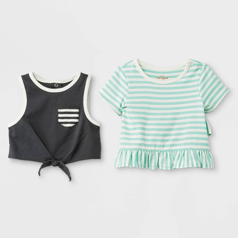 Image of Baby Girls' 2pc Crop Tank Top and Ruffle T-Shirt Set - Cat & Jack Green/Black 0-3M, Girl's, Black/Green