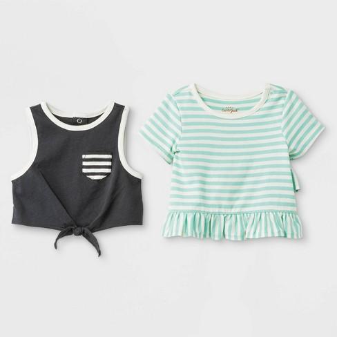 Baby Girls' 2pc Crop Tank Top and Ruffle T-Shirt Set - Cat & Jack™ Green/Black Newborn - image 1 of 2