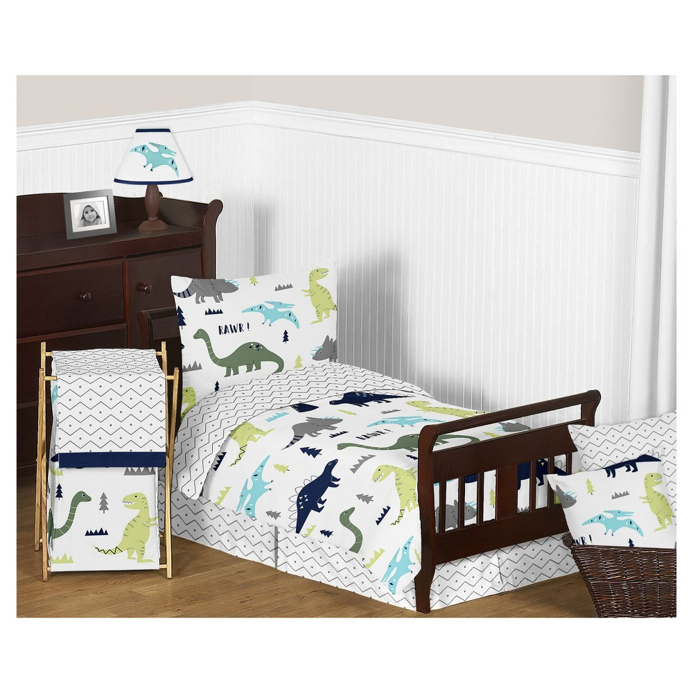Image of Blue/Green Mod Dinosaur Bedding Set (Toddler) - Sweet Jojo Designs, White Green Blue