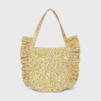 Girls' Ruffle Tote Handbag - Cat & Jack™ Yellow/Pink
