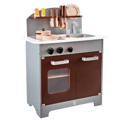 Hape Kids Gourmet Chef Wooden Toy Kitchen Pretend Play with Oven, Sink, Refrigerator, Cooking Pots and Cookware Accessories Set, Espresso Silver