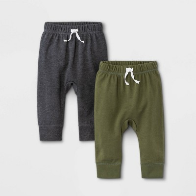 Baby Boys' 2pk French Terry Jogger Pants - Cat & Jack™ Olive Green/Charcoal Gray 3-6M
