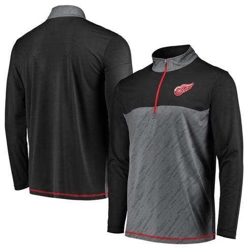 59584f7c8af NHL Detroit Red Wings Men s Striped Geo Fuse Gray  Black 1 4 Zip   Target