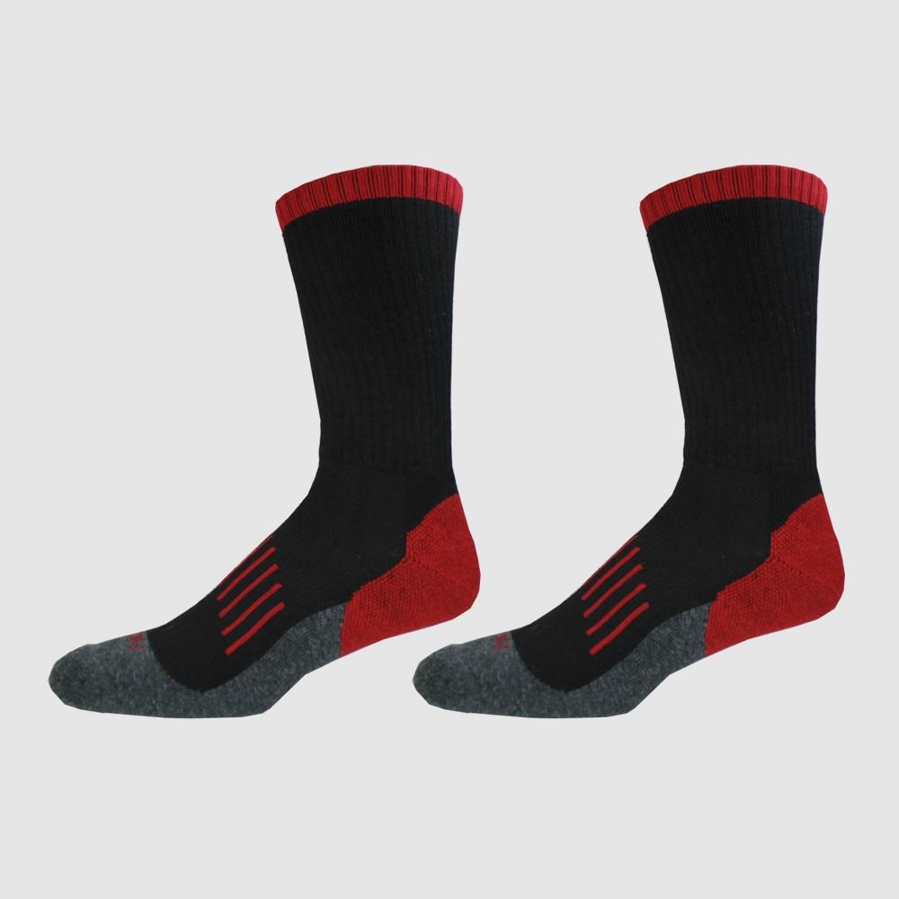 Dickies Men's Merino Wool Blend 2pk Thermal Crew Socks - Black/Red 6-12