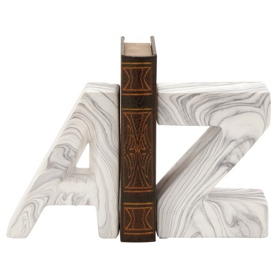 New Traditional Ceramic Marble-Finish A and Z bookends (8 )2ct - Olivia & May