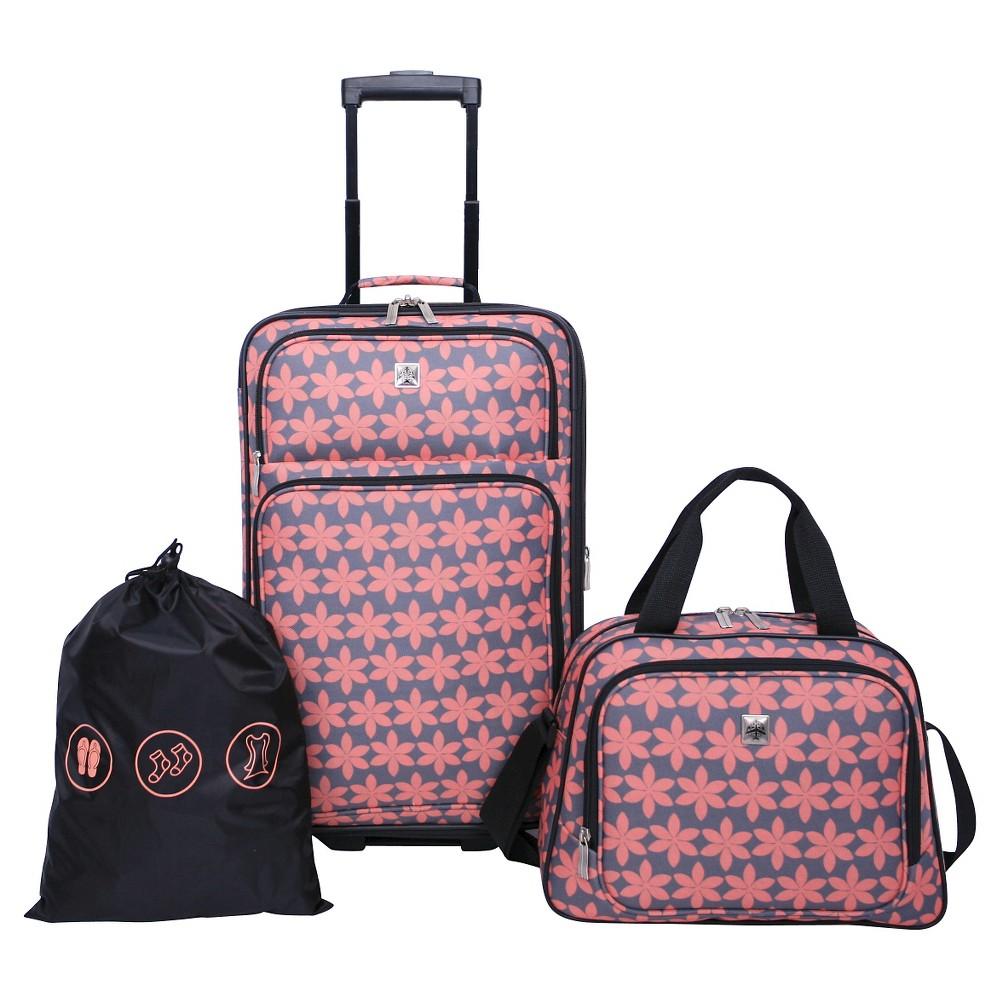 Skyline 3pc Softside Luggage Set Gray Floral Print