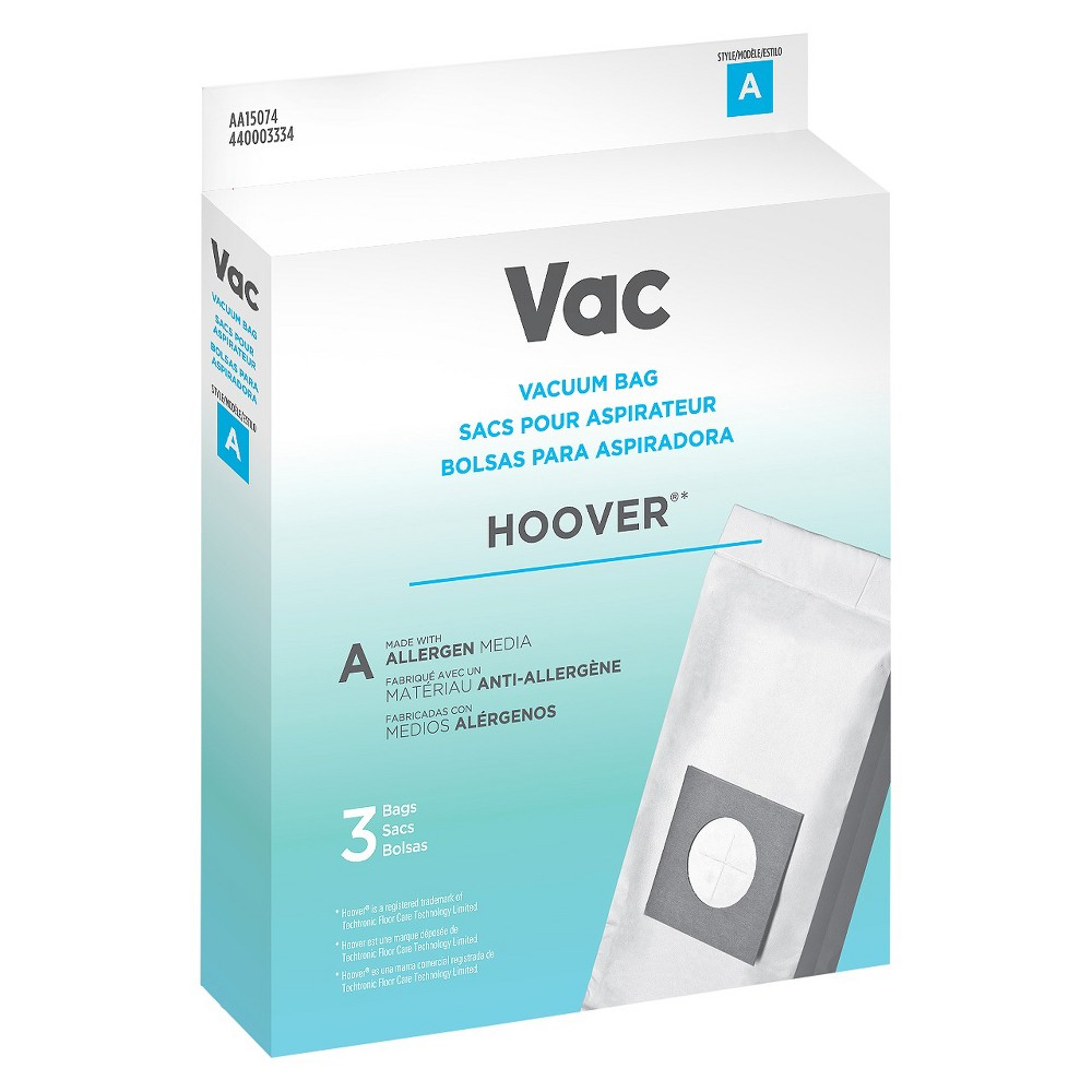 Vac Hoover Type A Vacuum Bag, White Keep your vacuum clean and your house tidy with the Vac Hoover Type A Vacuum Bag. The pack comes with 3 bags that help capture dust, dirt and debris. Designed to fit your vacuum cleaner, these disposable bags are hypoallergenic to help filter out common household allergens. Check your owner's manual to make sure you are purchasing the right parts to keep your vacuum running at peak performance. Color: White.