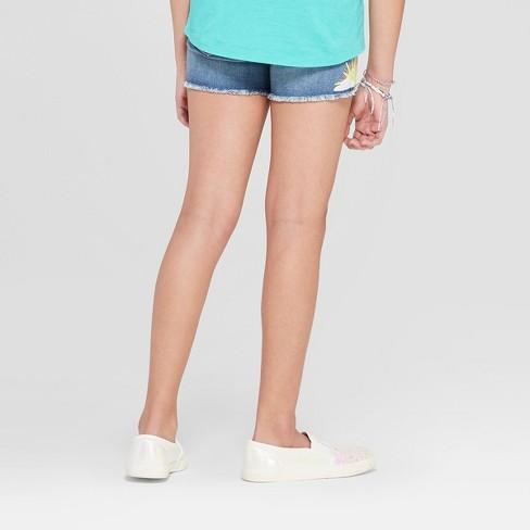 fb2d397fd4 Girls' Embroidered Jean Shorts - Cat & Jack™ Medium Wash