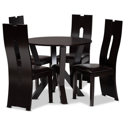 5pc Dining Set Wood and Senan Faux Leather Upholstered Dark Brown/Espresso Brown - Baxton Studio