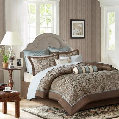 12pc King Whitman Jacquard Comforter Set Blue