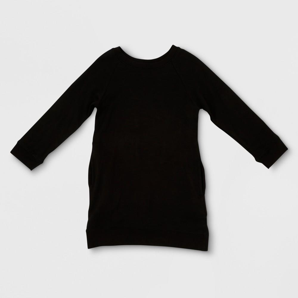 Toddler Girls' Afton Street Long Sleeve Fleece Pullover A Line Dress - Black 3T