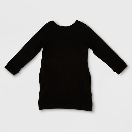 Toddler Girls' Afton Street Long Sleeve Fleece Pullover A Line Dress - Black 2T