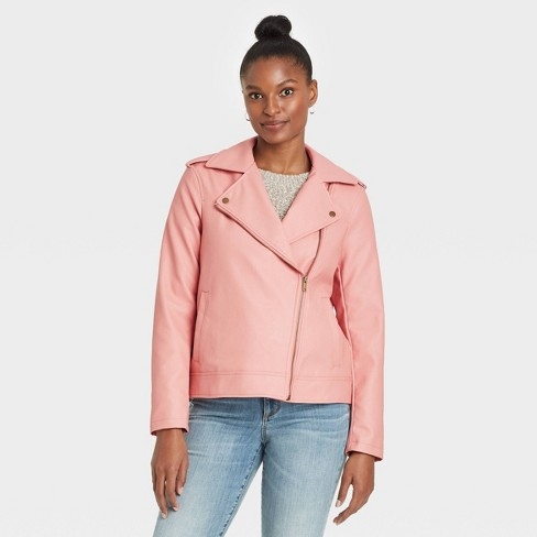 Women's Zipper Moto Jacket - Universal Thread™ Pink - image 1 of 3
